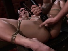 Throat fucked coupled with bound asian