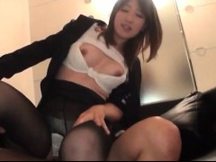 Honour Japanese secretary showing dick riding skills at one's disposal work