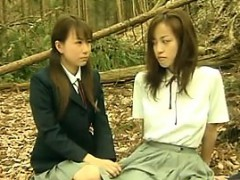 Powered Asian Lesbians Outside In The Forest