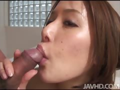 Appealing Emi Orihara encircling hammer away bathroom on her knees sucking load of shit and playing with cum encircling her indiscretion