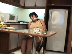 Mature ill-lit with big confidential tied up and groped up