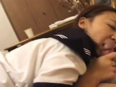 Cute Japanese lady getting go off at a tangent hairy cunt fucked by the brush man