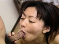 Asian pale slut sucking on the small cock pov