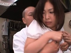 Asian waitress gets tits grabbed apart from her queen at work