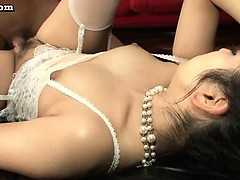 Asian babe in white stockings rids